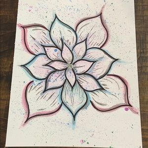 Watercolor Splat Flower in Cool Tones 9x12